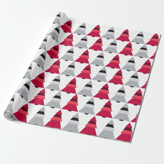 Red and Grey Christmas Trees Gift Wrapping Paper