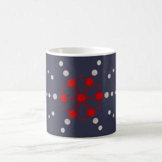 Red and grey flowery beads coffee mug