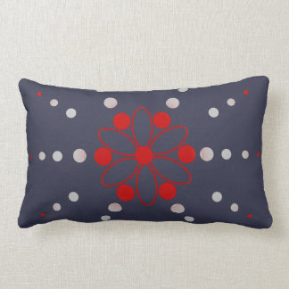 Red and grey flowery beads lumbar pillow