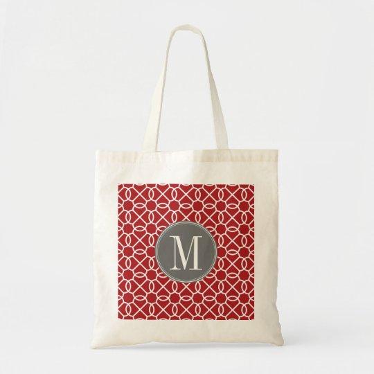 Red and Grey Geometric Pattern Monogram Tote Bag