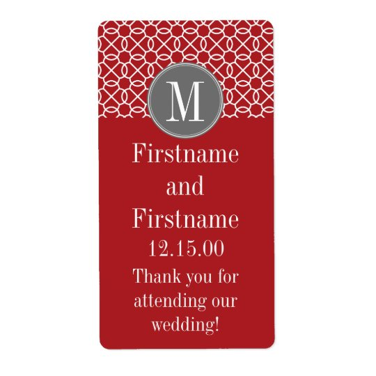 Red and Grey Geometric Pattern with Monogram Shipping Label