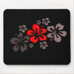Red and Grey Hibiscus Mouse Mat