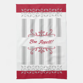 Red and grey modern french inspired tea kitchen towel