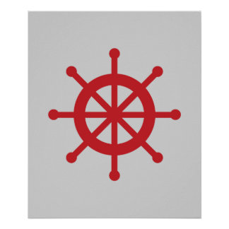 Red and Grey Nautical Ship Wheel Poster