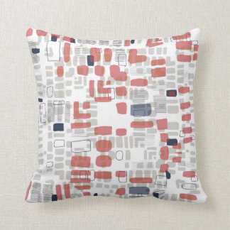 Red and grey pattern throw pillow