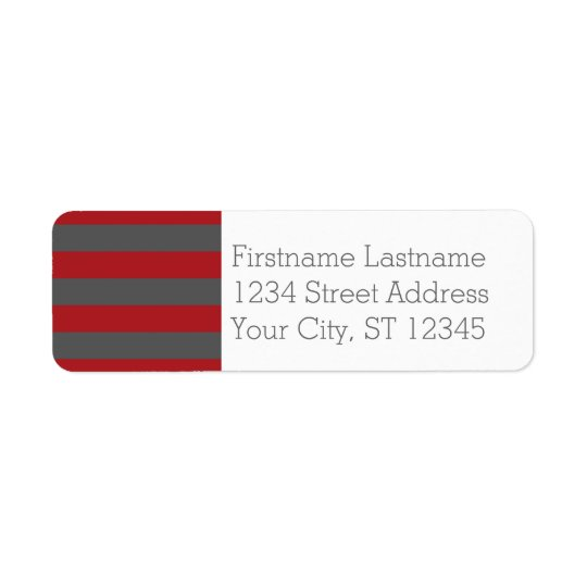 Red and Grey Rugby Stripes with Custom Name Return Address Label