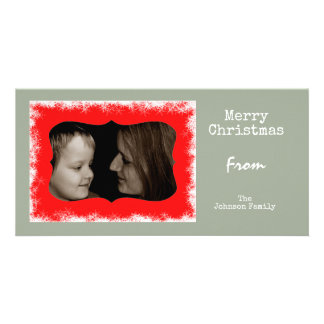 Red and Grey Snowflake Family Customized Photo Card