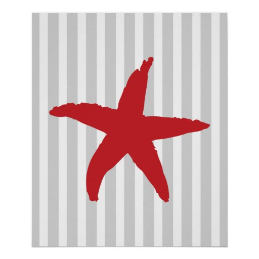 Red and Grey Striped Nautical Sea Star Posters