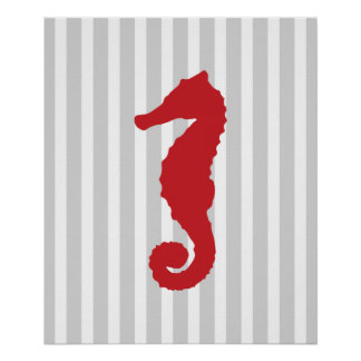 Red and Grey Striped Nautical Seahorse Posters