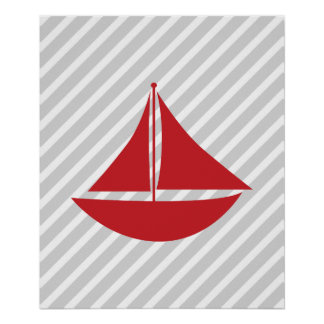 Red and Grey Striped Nautical Ship Posters