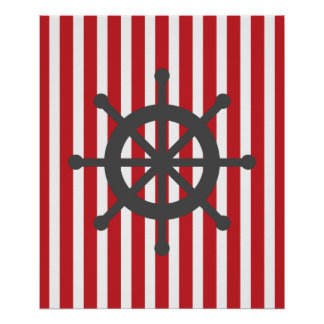 Red and Grey Striped Nautical Ship Wheel Poster