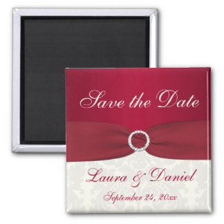 Red and Ivory Damask Save the Date Magnet