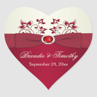 Red and Ivory Floral Heart Shaped Sticker