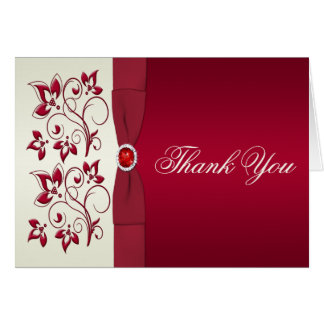Red and Ivory Floral Thank You Card