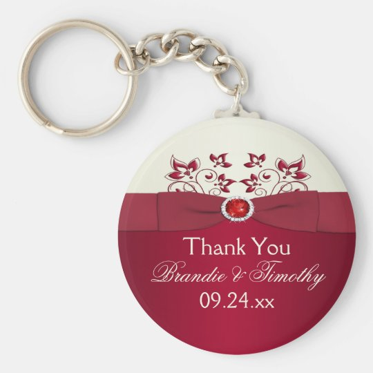 Red and Ivory Floral Wedding Favour Key Chain