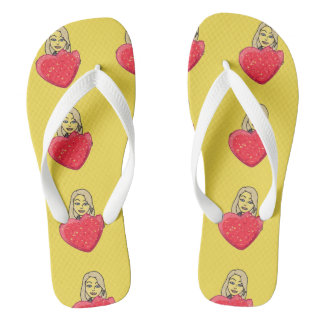 RED AND JELLOW HEART FLIP FLOPS