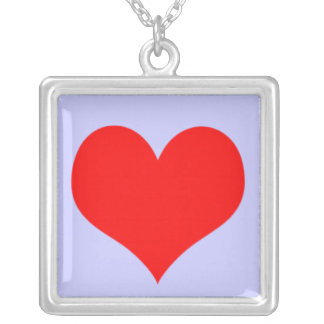 Red And Lavender Heart Valentine Love Custom Color Square Pendant Necklace