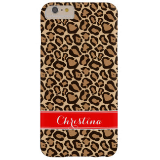 Red and Leopard Print Custom Monogram Barely There iPhone 6 Plus Case