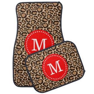 Red and Leopard Print Custom Monogram Car Mat