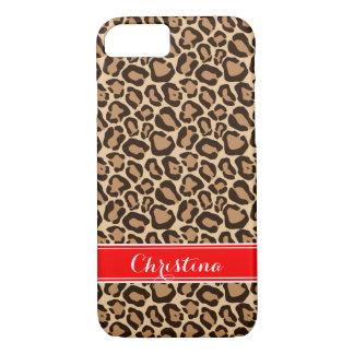 Red and Leopard Print Custom Monogram iPhone 8/7 Case
