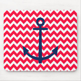 Red and Navy Anchor Chevron Nautical Pattern Mouse Mat