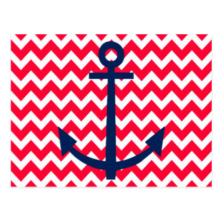 Red and Navy Anchor Chevron Nautical Pattern Post Cards