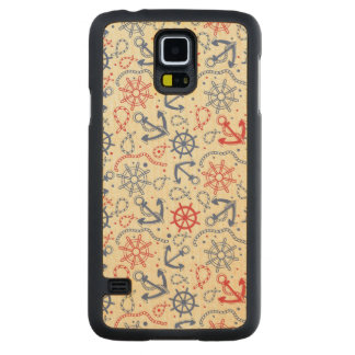 Red and navy background with anchor carved maple galaxy s5 case