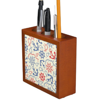 Red and navy background with anchor desk organiser