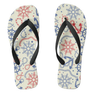 Red and navy background with anchor flip flops