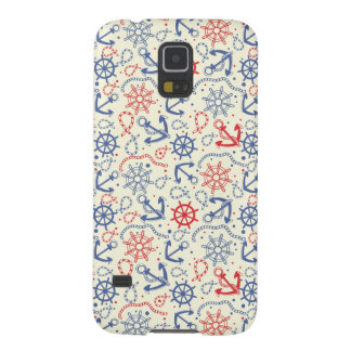 Red and navy background with anchor galaxy s5 cover