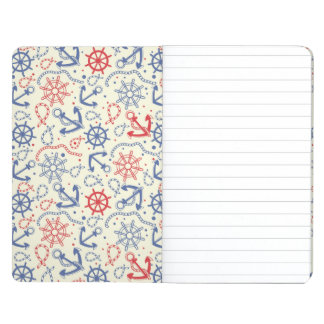 Red and navy background with anchor journal