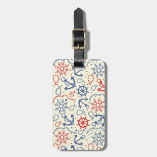 Red and navy background with anchor luggage tag