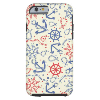 Red and navy background with anchor tough iPhone 6 case