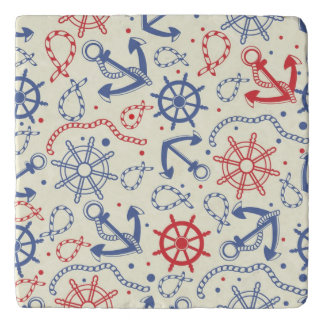 Red and navy background with anchor trivet