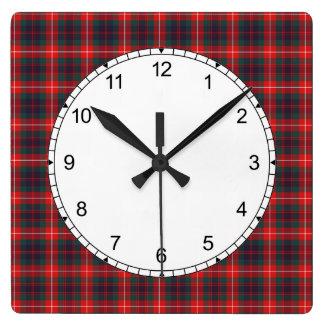 Red and Navy Blue Fraser of Lovat Modern Tartan Clocks