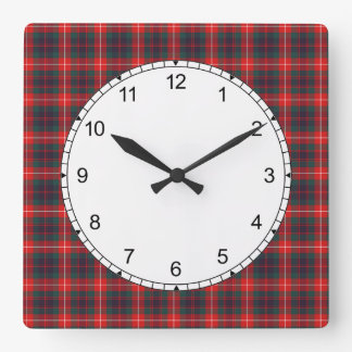 Red and Navy Blue Fraser of Lovat Modern Tartan Square Wall Clock