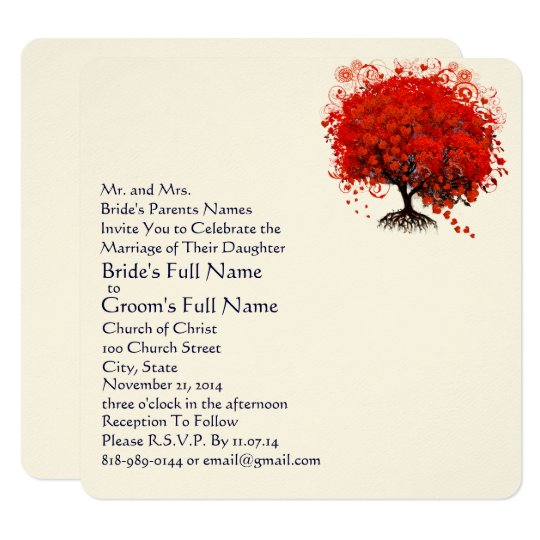 Red and Navy Heart Leaf Tree Wedding Invitations