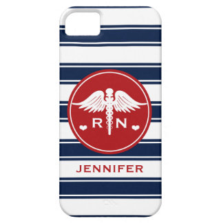RED AND NAVY STRIPE CADUCEUS NURSE RN iPhone 5 COVER