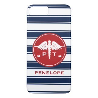 RED AND NAVY STRIPE PHYSICAL THERAPY PT iPhone 7 PLUS CASE