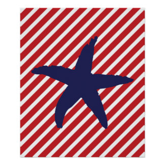 Red and Navy Striped Nautical Sea Star Poster