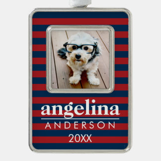 Red and Navy Striped Pattern Custom Name and Photo Silver Plated Framed Ornament