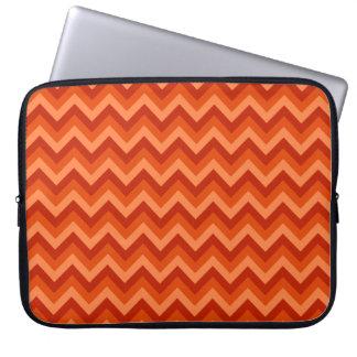 Red and Orange Chevron Stripes. Laptop Sleeve