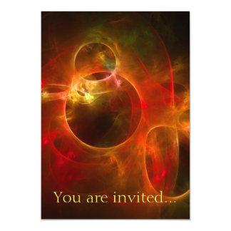 Red and Orange Circles 13 Cm X 18 Cm Invitation Card