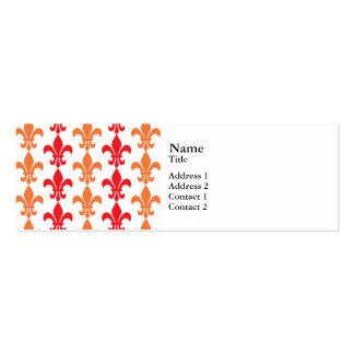 Red and Orange Fleur de Lis Pattern Business Card Templates