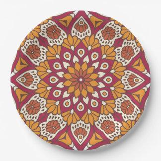 Red and Orange Floral Mandala Paper Plate