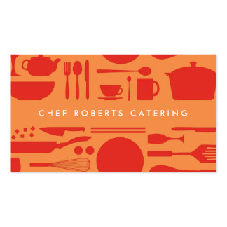 RED AND ORANGE KITCHEN COLLAGE PACK OF STANDARD BUSINESS CARDS