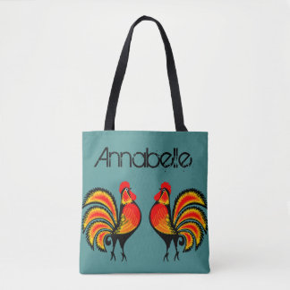 Red and Orange Roosters Personalize Tote Bag