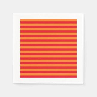 Red and Orange Stripes Paper Napkin
