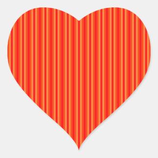 Red and Orange Stripey Hippie Pattern Heart Sticker