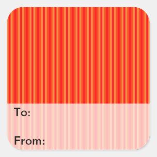 Red and Orange Stripey Hippie Pattern Square Sticker